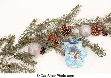 décoration, sapin, noël, branche