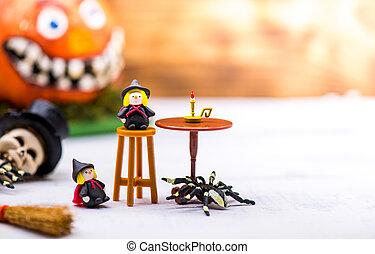 décoration, season., halloween, tour, automne, traiter, partie., ou, heureux