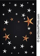 décoration, sombre, étoiles, fond, carte