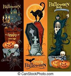 décoration, spooky, bannières, nuit sorcières parti