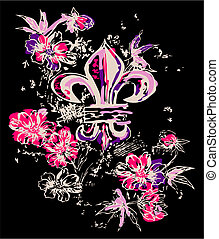 décoration, symbole, fleur, royal, fantaisie