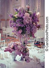 décoration, table, colours., lilas, fête