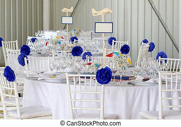 décoration, table, ensemble, mariage