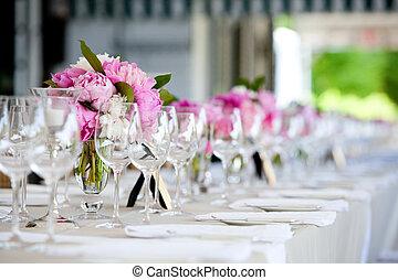 décoration, table, mariage, série
