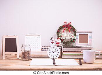 décoration, table, travail, noël