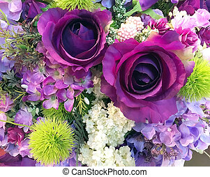 décoration, tas, fleurs, arrangement