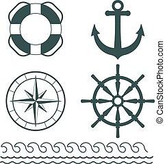 décoration, vecteur, nautique