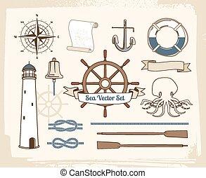décoration, vendange, ensemble, nautique