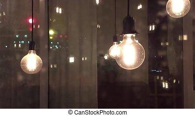 décoration, vendange, nuit, idée, pensée, lampe ...