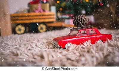 décoration, voiture, noël, neige, tomber