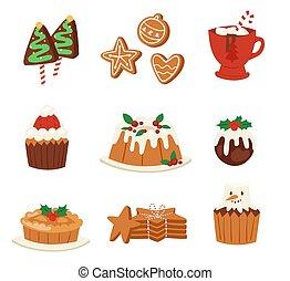 décoration, x-mas, illustration., famille, fête, nourriture, doux, célébration, noël, traditionnel, desserts, hiver, vecteur, noël, fait maison, gâteau, fête, repas vacances, dîneur