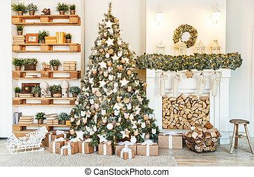 décorations, arbre, noël, maisons, decor.