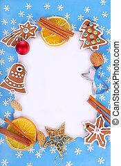décorations, biscuits, noël, pain épice, cadre