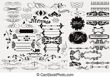 décorations, calligraphic, éléments, page, conception