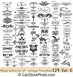 décorations, calligraphic, éléments, page, ton, collection, ...