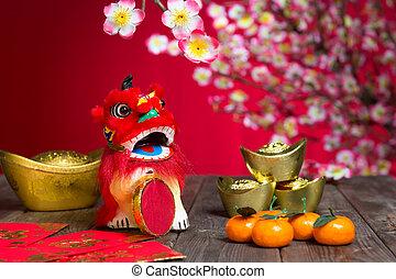 décorations, caractère, nouveau, symbolise, gong, chinois, ...
