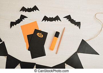 décorations, fête, halloween