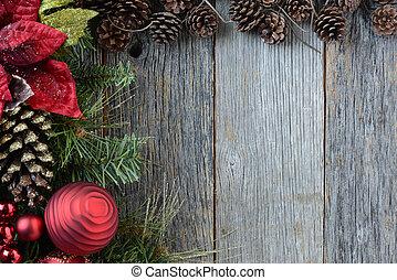 décorations noël, à, cônes pin, et, rustique, bois, fond
