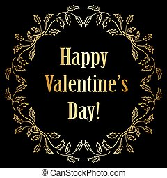 décorations, or, valentines, -, vecteur, arrière-plan noir, jour, heureux
