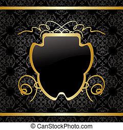 décorations, or, vendange, -, vecteur, arrière-plan noir