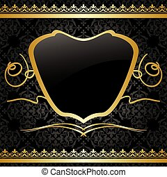 décorations, or, vendange, -, vecteur, arrière-plan noir, modèle