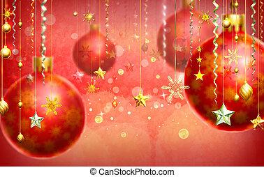 décorations, résumé, pendre, fond, plusieurs, noël, rouges