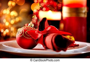 décorations, vacances, noël, table, setting.