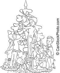 décorer, arbre, enfants, noël