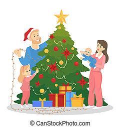 décorer, arbre, noël, célébration famille