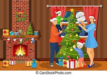 décorer, arbre, noël, famille