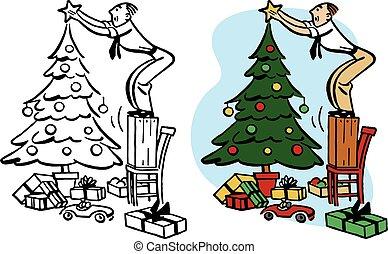 décorer, arbre, noël, homme