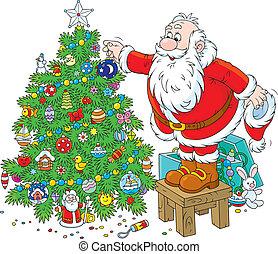 décorer, claus, noël, santa