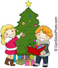 décorer, gosses, arbre, noël