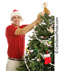 décorer, homme, arbre, noël, jeune