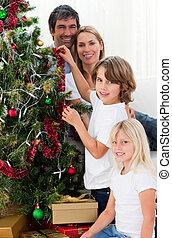 décorer, joyeux, famille