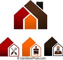 décorer maison, -, icônes
