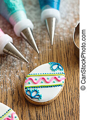 décorer, paques, biscuits
