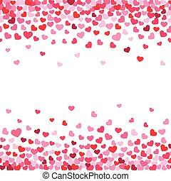 décorer, salutation, valentin, vecteur, conception, fond, confetti., cœurs, tomber, blanc, carte
