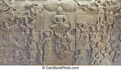 décorer, sur, temple, pierre, biographie, buddha's, mur