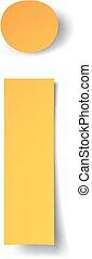 découpé, papier, doux, shadow., vecteur, lettre, yellow-gold