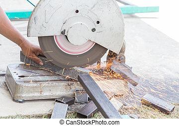 découpage, acier, tige, par, machine, sur, a, jour, à, les, site construction