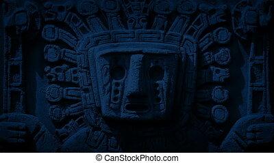 découpage, ancien, aztèque, nuit