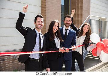 découpage, businesspeople, ruban, heureux