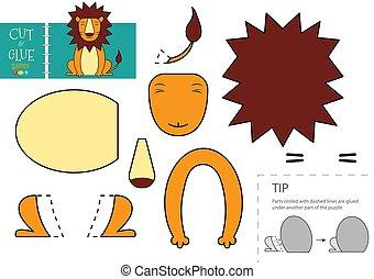 découpage, colle, préscolaire, vecteur, papier, illustration., caractère, kids., jouet, lion, ciseaux, coupure, mignon, modèle