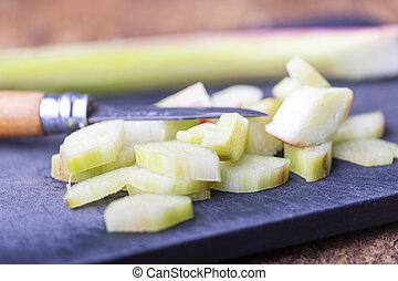 découpage, coupure, planche, rhubarbe