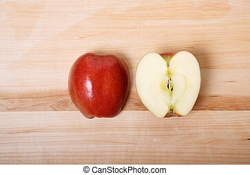 découpage, coupure, pomme, moitié, planche