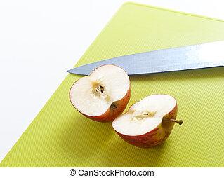 découpage, coupure, pomme, planche