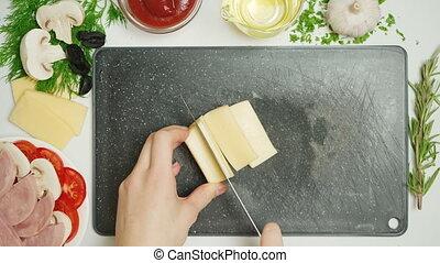 découpage, cuisine, vidéo, fromage