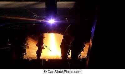 découpage, feuille, laser, étincelles, métal