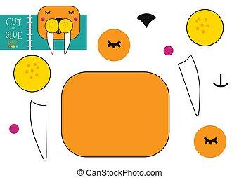 découpage, gosses, colle, préscolaire, vecteur, papier, illustration., caractère, jouet, ciseaux, cachet, coupure, modèle